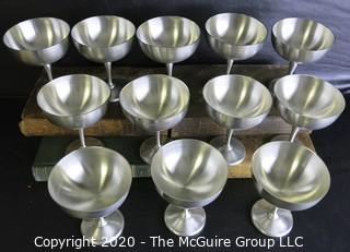 """Set of 12 Pewter Champagne Coupes made by Colonial Pewter by Boardman JBC.  They Measure Approximately 4 1/2"""" tall."""