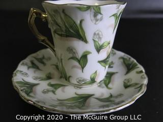 Porcelain Bone China Teacup and Saucer, May, Made in Japan.