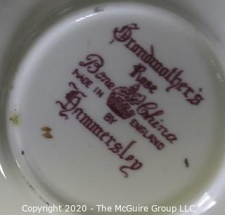 Porcelain Bone China Teacup and Saucer in Grandmother's Rose pattern made by Hammersley in England.