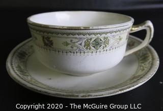 Porcelain Bone China Teacup and Saucer in Impress pattern made by Homer Laughlin.