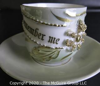 Porcelain Bone China Teacup and Saucer, Remember Me, made in Germany.