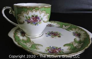 Porcelain Bone China Teacup and Toast Snack Plate in Academy pattern made by Royal Grafton in England.