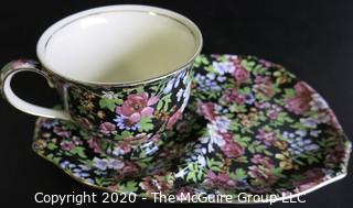 Porcelain Bone China Teacup and Toast Snack Plate in Chelsea pattern made by Royal Winton in England.