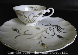 Porcelain Bone China Teacup and Toast Snack Plate made by Lefton China.