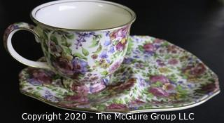 Porcelain Bone China Teacup and Toast Snack Plate in Summertime pattern made by Royal Winton in England.