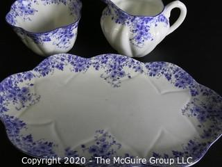"""Porcelain Bone China Creamer and Sugar Bowl with Tray in """"Dainty Blue"""" Pattern made by Shelley in England."""