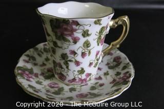 Porcelain Bone China Teacup and Saucer April, made in Japan.
