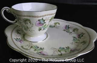 Porcelain Bone China Teacup and Toast Snack Plate made by Foley Bone China in England.