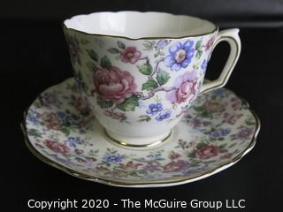 Porcelain Bone China Teacup and Saucer made by Crown Staffordshire in England.