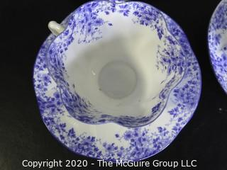 Porcelain Bone China Teacup and Saucer made in Dainty Blue pattern made by Shelley in England.