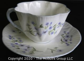 Porcelain Bone China Teacup and Saucer made in Blue Rock pattern made by Shelley in England.