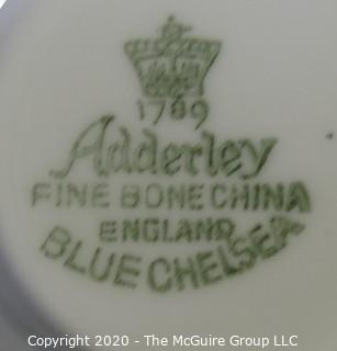 Porcelain Bone China Teacup and Saucer made in Blue Chelsea pattern made by Adderley in England.