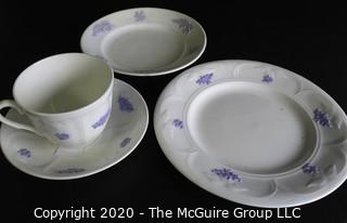 Set of 4 Porcelain Bone China Pieces Including Teacup with Saucer and Two Plates.  Made in Blue Chelsea pattern made by Adderley in England.