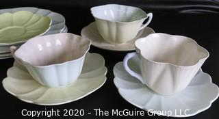 Lot #0105: Set of 10 Porcelain Bone China Pieces.  Includes Teacups with Saucers, Three Lunch Plates and One Extra Saucer in Coordinating Colors made by Shelley in England.