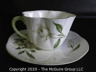 Porcelain Bone China Teacup and Saucer made in Lyringa pattern made by Shelley in England.