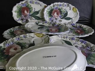 Set of 8 Porcelain Hand Painted Snack Plates with Saucer Rest made in Italy.