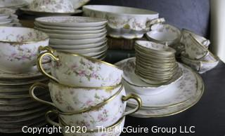 Large Collection of Fine Porcelain China Serving Pieces and Place Settings in Coordinating Patterns. Made by Haviland Limoges China from France and Elite Limoges China from France.