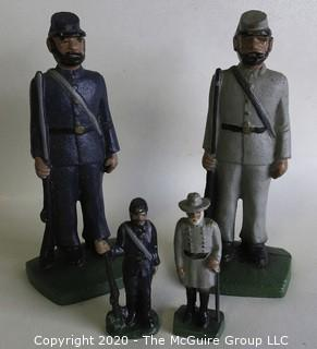 """Pair of Civil War """"Blue And Gray"""" Cast Iron Painted Figures and Book Ends; large set are 7 1/2"""" tall; smaller set are 3 1/2"""" tall."""