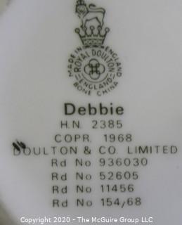 "Vintage Royal Doulton Porcelain Figurine ""Debbie"". Measures approximately 6"" tall."