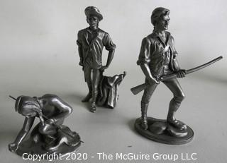 "Four Pewter Figurines.  Measure Approximately 3 1/2"" tall."