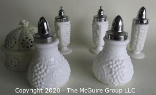 Six Milk Glass Items Including 5 Salt & Pepper Shakers.
