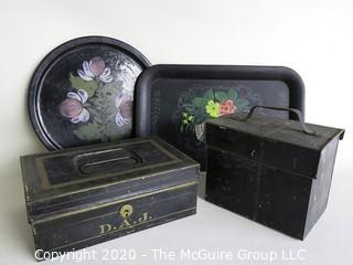 Group for 4 Vintage Metal Items.  Includes 2 Tole Painted Trays and 2 Bank Boxes.