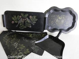 Group of Black Tole Painted Items.  Various Materials Including Metal, Wood and Paper.