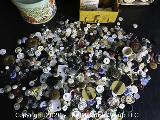 Group of Vintage Sewing Accessories. Includes a Large Collection of Buttons, Shuttles, Lace Trim & Wood Handle Stitcher.