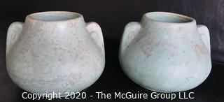 Pair of Mottled Green Heavy Ceramic Pottery Vases or planters.