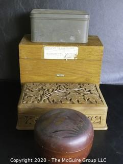 Group of Four Boxes.  Includes Wood File Box, Carved Card Box, Dome Lid Lacquer Box and Tin Box with Hinge Lid.