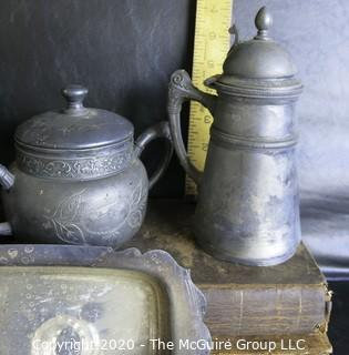 Large Group of Metal Serving Items. Includes Pewter Made by Various Makers and Some Quadruple Plate.