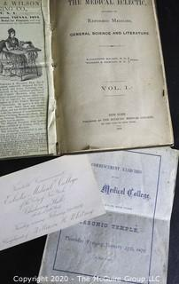 Three Antique Medical Books.  Includes Concentrated Medicines, The Young Chemist and The Medical Eclectic.  Also Includes a Graduation Program from Eclectic Medical College from 1876.