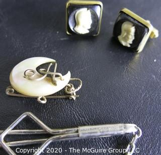 Small Group of Miscellaneous Items.  Includes Brooches, Charms, Belt Buckles, Etc.
