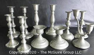 Group of 11 Pewter Candle Sticks.  Makers Include Wpodbury Pewter and Crown & Rose Cast Pewter from England.
