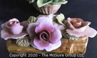 Lot of 4 Floral Porcelain Figurine Including Capodimonte.