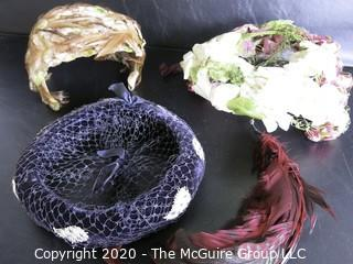 Lot of 4 Vintage Hats, Some Feathered.