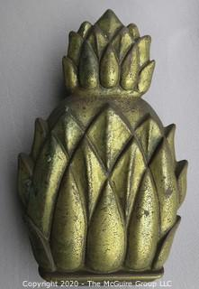 """Vintage Brass Pineapple Door Knocker Made by Virginia Metalcrafters - Newport.  Measures approximately 7"""" long"""