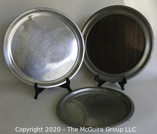 Three Round Pewter Serving Trays Made by Woodbury Pewter.