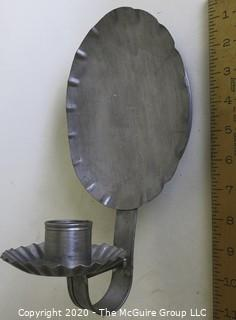 Two Primitive Pewter Wall Sconce Candle Holders.