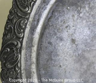 """Round Pewter Tray with Floral Relief Edge.  Measures approximately 12""""."""