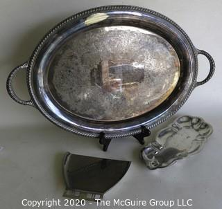 """Two Silver Plated Trays (double handled oval is 24"""" wide)and one Crumb Catcher."""