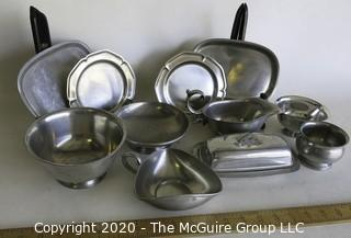 Large Group of Pewter Serving Items, Various Makers.