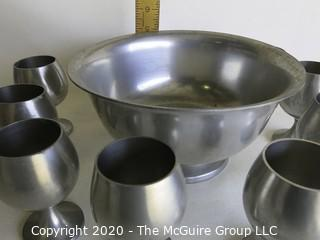 """Pewter Punch Bowl and Eight Stemmed Cups made by Stieff and Preisner.  Bowl measures approximately 9"""" in diameter and cups measure approximately 4"""" tall."""