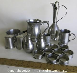 Large Group of Pewter Serving Pieces.