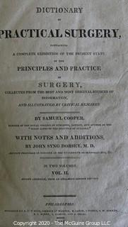 Antique Leather Bound 1816 Two Volume Set of Dictionary of Practical Surgery by Samuel Cooper.