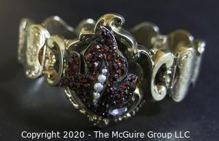 "Antique 14Kt Gold Link (unmarked, but tested) Bracelet with Garnet and Pearl Flower Center.  Measures approximately 6"" long; total weight 18 grams. (Description altered 03.19 @ 4:29pm ET)"