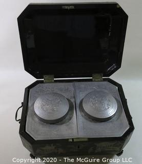 """Antique 19th Century Chinese Export Lacquer Wood Tea Box with Fitted Pewter Tea Canisters.  Measures approximately 5 3/4"""" tall, 14"""" wide & 8"""" deep"""