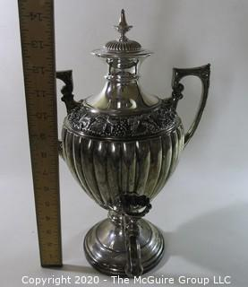 "Victorian Ornate Silver Plate Coffee Urn. Measures approximately 14 1/2"" tall. Note the numerous hallmarks on the base"