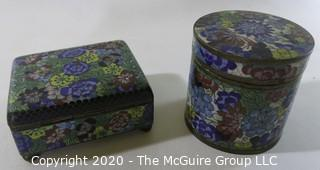 "Antique Asian Cloisonne Collection: One Round (3"" tall and 3"" in diameter)and One Rectangular with a Hinged Lid(3 1/2"" long, 3"" wide and 2"" tall); rectangular open top box and a small plate/tray.  See all photos"