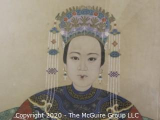 """Pair of 26 x 50"""" Framed 19th century Chinese Patriarch Matriarch Ancestral Portraits Painted on Silk and Framed Under Glass in Vibrant Color and Clear Detail.  (Additional photos have more detail)"""